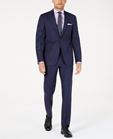 DKNY Men's Modern-Fit Indigo Plaid Suit Separates