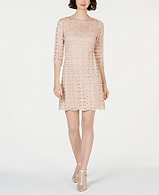 Allover Glitter & Lace Sheath Dress