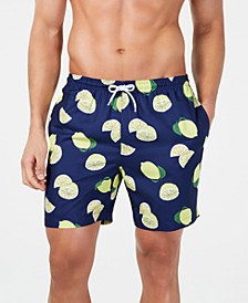 "Men's Lime-Print 6"" Volley Swim Trunks, Created for Macy's"
