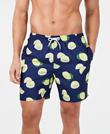 "Trunks Surf & Swim Co. Men's Lime-Print 6"" Volley Swim Trunks, Created for Macy's"