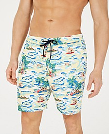 "Men's Quick-Dry Performance Surfing Dog-Print 7"" Swim Trunks, Created for Macy's"