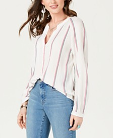 Lucky Brand Striped V-Neck Button-Up Top