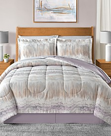 Marbelize Reversible 8-Pc. Light Gray Queen Comforter Set