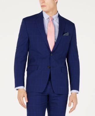 Men's Classic-Fit UltraFlex  Stretch Navy Plaid Suit Jacket