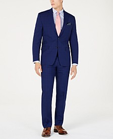 Men's Classic-Fit UltraFlex  Stretch Navy Plaid Suit Separates