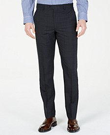 Men's Classic-Fit UltraFlex  Stretch Charcoal Windowpane Suit Pants