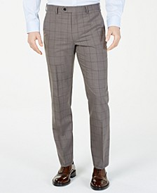 Men's Classic-Fit UltraFlex  Stretch Taupe Windowpane Suit Pants