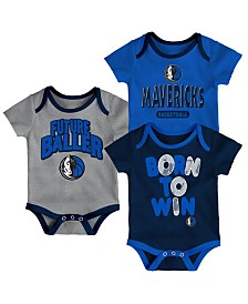 Outerstuff Dallas Mavericks 3 Piece Bodysuit Set, Infants (0-9 Months)