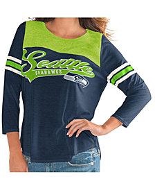 G-III Sports Women's Seattle Seahawks Sleeve Stripe Raglan T-Shirt