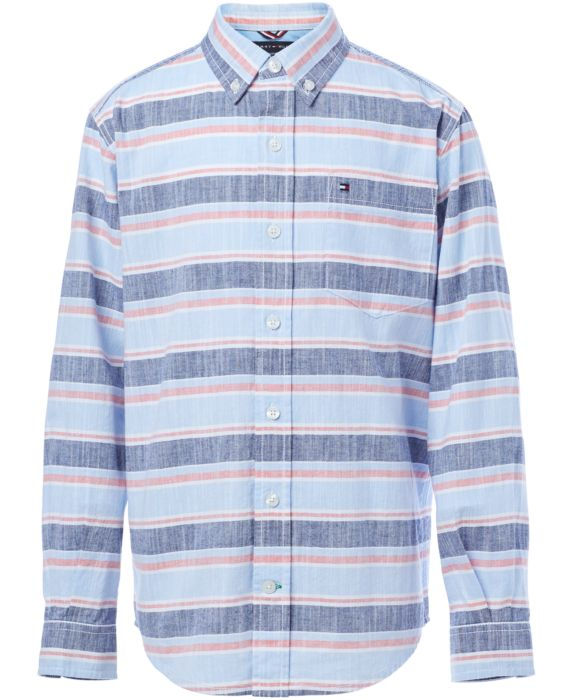 Tommy Hilfiger Big Boys Stanford Cotton Shirt , Blue, Size: XL (20)