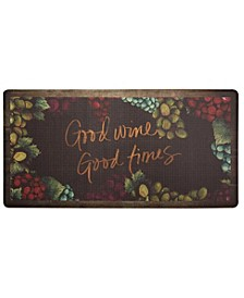 "Nicole Miller Cook N Comfort Cushioned Anti-Fatigue Kitchen Mat ""Good Wine, Good Time"""