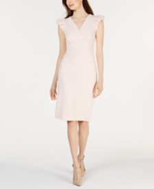 Calvin Klein Puffed-Shoulder Cap-Sleeve Sheath Dress