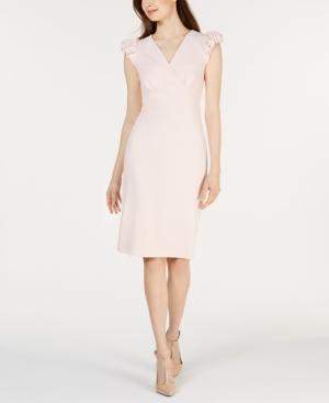 Calvin Klein Dresses PUFFED-SHOULDER CAP-SLEEVE SHEATH DRESS