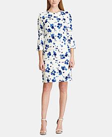 Lauren Ralph Lauren Petite Lace-Trim Floral-Print Dress