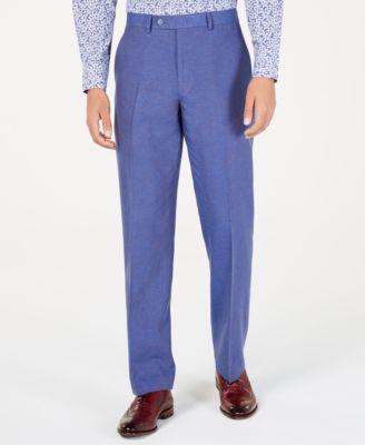 Men's Classic-Fit Blue Textured Suit Pants
