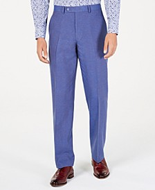 Men's Classic-Fit Blue Textured Suit Pants