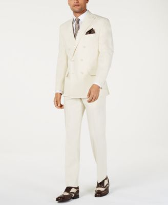 Men's Classic-Fit Off White Solid Double Breasted Suit Jacket