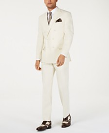 Sean John Men's Classic-Fit Off White Solid Double Breasted Suit Separates