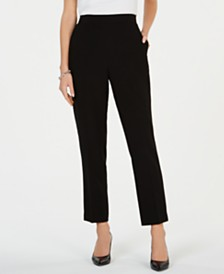 Kasper Pull-On Straight-Leg Pants