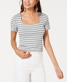 Gypsies & Moondust Juniors' Striped Rib-Knit T-Shirt