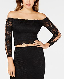 GUESS Off-The-Shoulder Lace Top