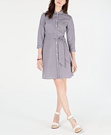 Tommy Hilfiger Cotton Gingham-Print Shirtdress, Created for Macy's
