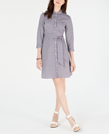 Tommy Hilfiger Cotton Gingham-Print Shirtdress