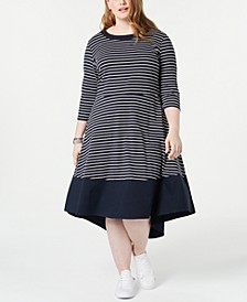 Plus Size Striped A-Line Dress, Created for Macy's