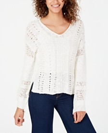 American Rag Juniors' Textured Mixed-Knit Sweater, Created for Macy's