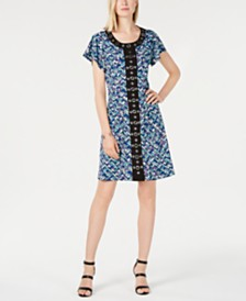 NY Collection Petite Grommet-Trimmed Printed Dress