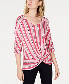 Petite Striped Twist-Front Top