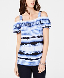 I.N.C. Tie-Dyed Cold-Shoulder Top, Created for Macy's