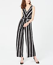 I.N.C. Sleeveless Striped Jumpsuit, Created for Macy's
