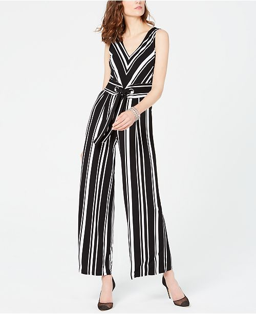 INC International Concepts I.N.C. Petite Sleeveless Striped Jumpsuit, Created for Macy's