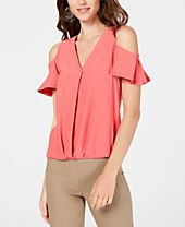I.N.C. Surplice Cold-Shoulder Top, Created for Macy's