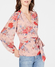 I.N.C. Petite Blouson-Sleeve Wrap Top, Created for Macy's