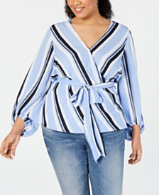I.N.C. Plus Size Striped Wrap Top, Created for Macy's