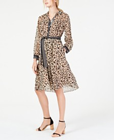 Marella Printed Belted Shirtdress