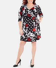 Plus Size Printed Tie-Front Wrap Dress