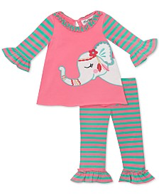 Rare Editions Baby Girls 2-Pc. Striped Elephant Top & Leggings Set