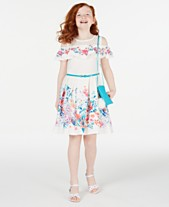 e669eb63bdf6 Beautees Big Girls Floral-Print Cold-Shoulder Dress
