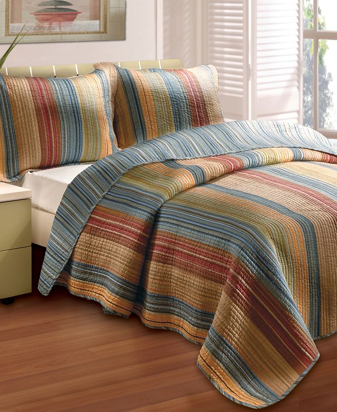 Greenland Home Fashions Katy Quilt Set, 3-Piece King