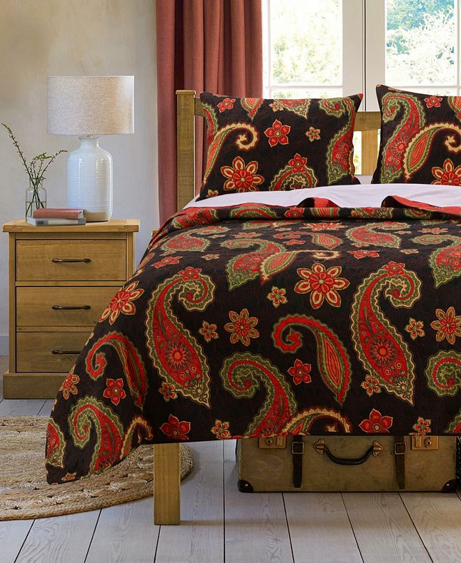 Greenland Home Fashions Midnight Paisley Quilt Set, 2-Piece Twin