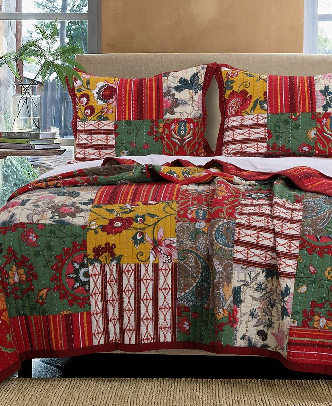 Greenland Home Fashions Arcadia Quilt Set, 3-Piece Full - Queen