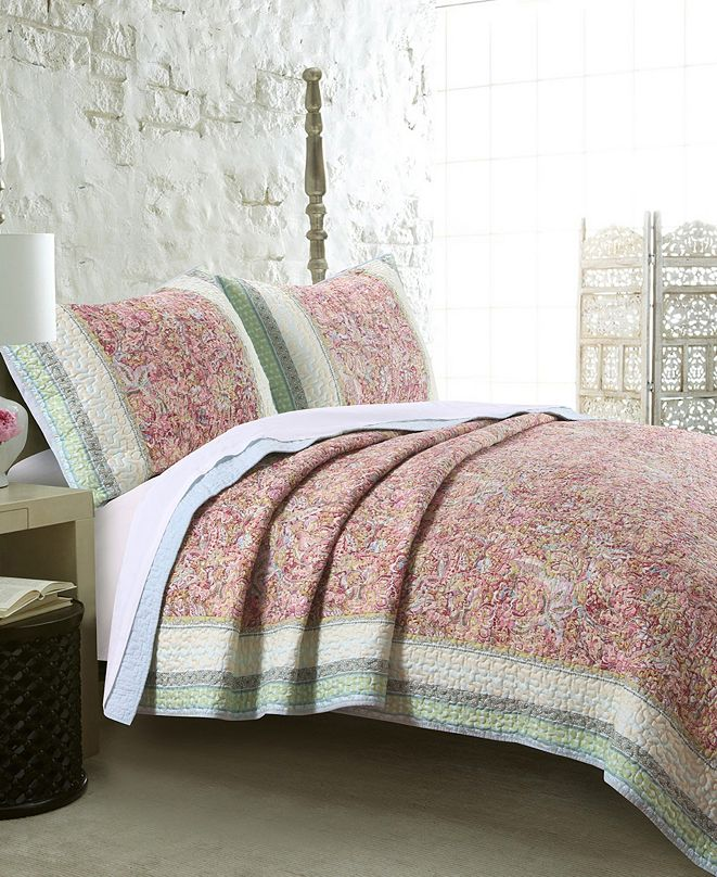 Greenland Home Fashions Palisades Pastel Quilt Set, 3-Piece Full - Queen