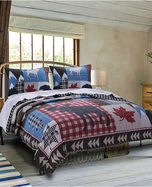 Greenland Home Fashions Mountain Trail Quilt Set, 3-Piece Full - Queen