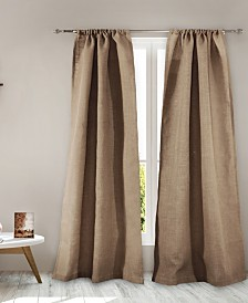 Burlap Window Panel Pair