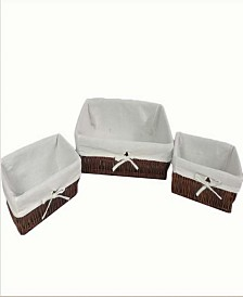 Set of 3 Storage Baskets with Thick Poly Cotton Liners