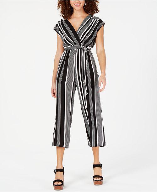 3de7d15978ee Almost Famous Juniors  Striped Surplice Jumpsuit   Reviews - Dresses ...