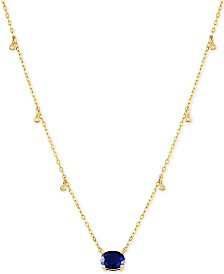 """Certified Ruby (1-5/8 ct.t.w.) & Diamond Accent 16-1/2"""" Pendant Necklace in 14k Gold(Also Available In Emerald and Sapphire)"""